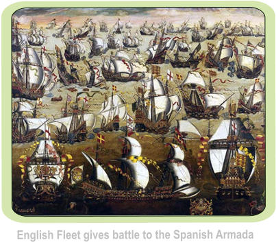 English Fleet gives battle to the Spanish Armada